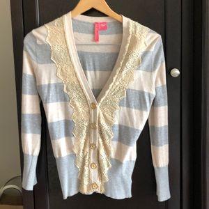 Charolette Tarantola gray/tan lace cardigan
